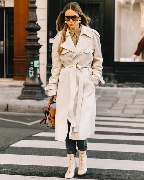 coat white coat sunglasses long coat boots white boots bag streetstyle