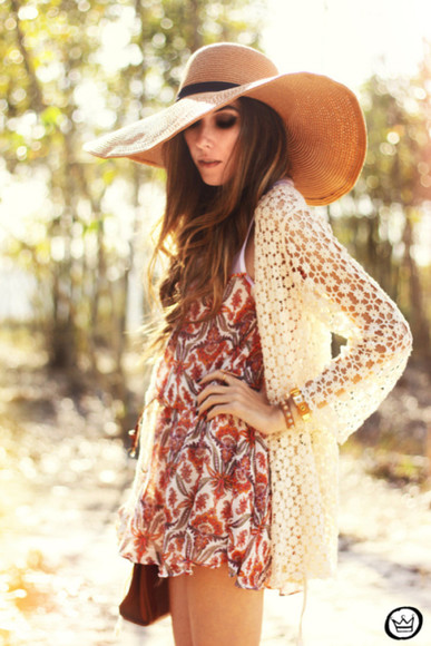 loose white dentelle jacket blanco boho bohemian bohemian style hat dress