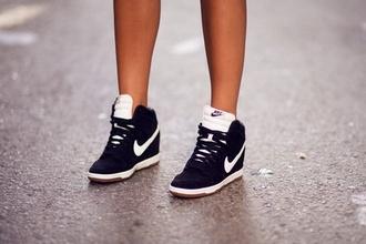 shoes nike black white sneakers high-heels street