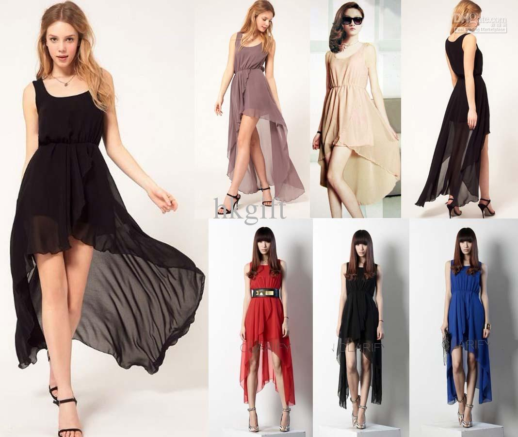 Wholesale sleeveless chiffon dress party long asymmetric celebrity cocktial long dresses, free shipping, $17.99/piece