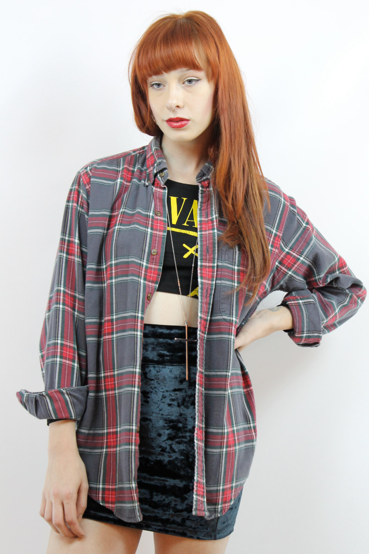Vintage années 90 Plaid Flannel Shirt S M L surdimensionné flanelle chemise 90 s Grunge chemise 90 s flanelle chemise chemise à carreaux gris gris flanelle chemise