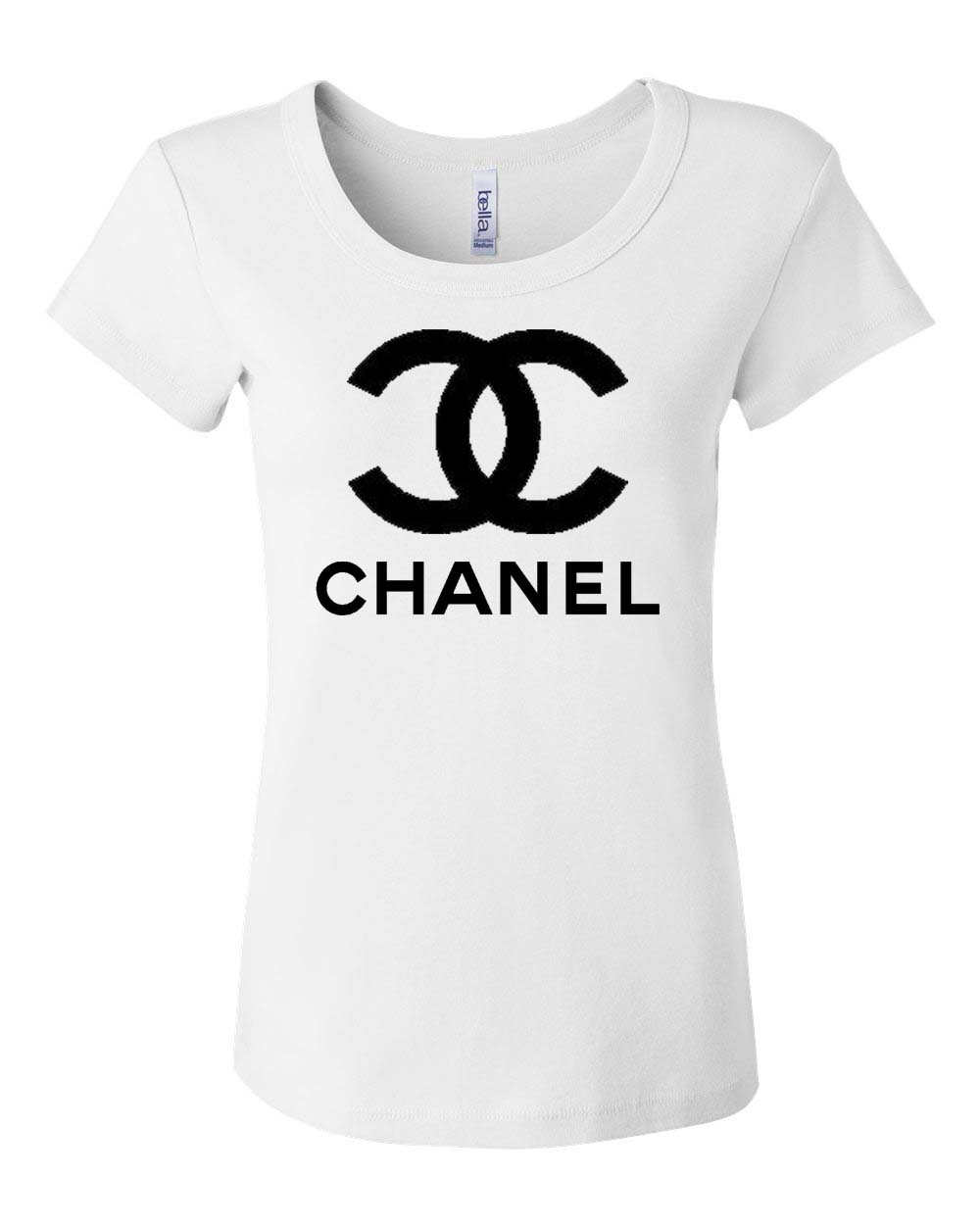 White Screenprint Tee Chanel Logo On Scoopneck Ustrendy