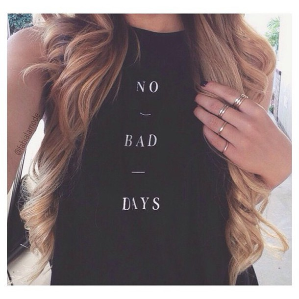 top crop tops t-shirt no bad days no bad days tank top shirt t-shirt tumblr tumblr shirt girl girl shirts cute shirt top shirt with words black tank top curly hair black shirt quote on it no bad days shirt black shirt tank top black