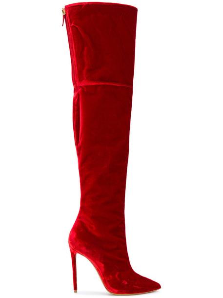 alexandre vauthier women leather velvet red shoes