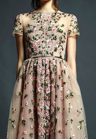 dress valentino floral green pink white light-pink rose print flowers pink prom dress 3d purple