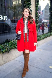 covering bases,curvy,blogger,coat,jacket,shirt,skirt,shoes,bag,make-up,fall outfits,red coat,shoulder bag,thigh high boots,high heels boots