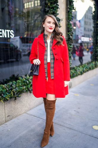 covering bases curvy blogger coat jacket shirt skirt shoes bag make-up fall outfits red coat shoulder bag thigh high boots high heels boots