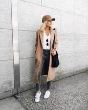 hat,tumblr,cap,baseball cap,coat,camel long coat,denim,jeans,grey jeans,sneakers,white sneakers,top,white top,bag,black bag,brown hat,white t-shirt,brown coat,blogger