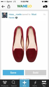shoes,red,flats,velvet,cute,hipster,loafers,smoking slippers