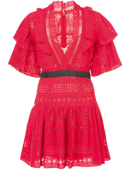 self-portrait dress embroidered dress embroidered women cotton red