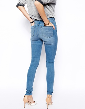 ASOS | ASOS Ridley High Waist Ultra Skinny Jeans in Brookyln Light Wash Blue at ASOS