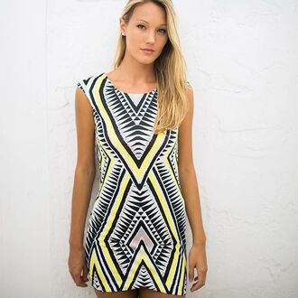 dress yellow dress yellow bodycon yellow bodycon dress geometric patterned dress geometric