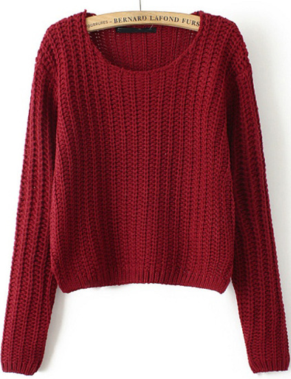 Round neck cable knit crop red sweater