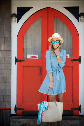 katie's bliss - a personal style blog based in nyc blogger dress bag scarf shoes hat sunglasses jewels blue dress mini dress short dress summer dress handbag grey bag sun hat mirrored sunglasses