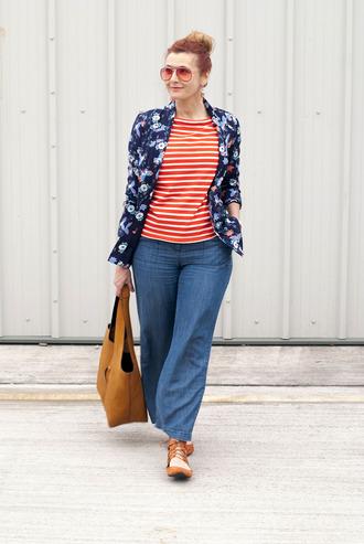 not dressed as lamb - over 40 fashion blog blogger top pants shoes bag sunglasses jewels jacket striped top handbag jeans
