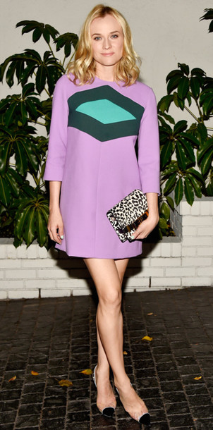 diane kruger Golden Globes 2015 lilac dress geometric