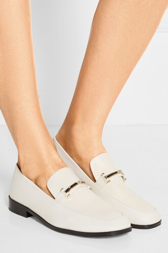 shoes loafers patent loafers gold hardware gold details white loafers gold trim