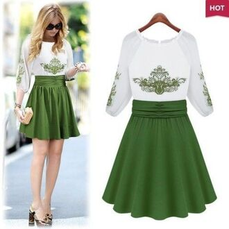 dress white and green dress chiffon dress embroidered dress half sleeves skater dress www.ustrendy.com