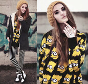 sweater,bart simpson,jeans,jewels,hat