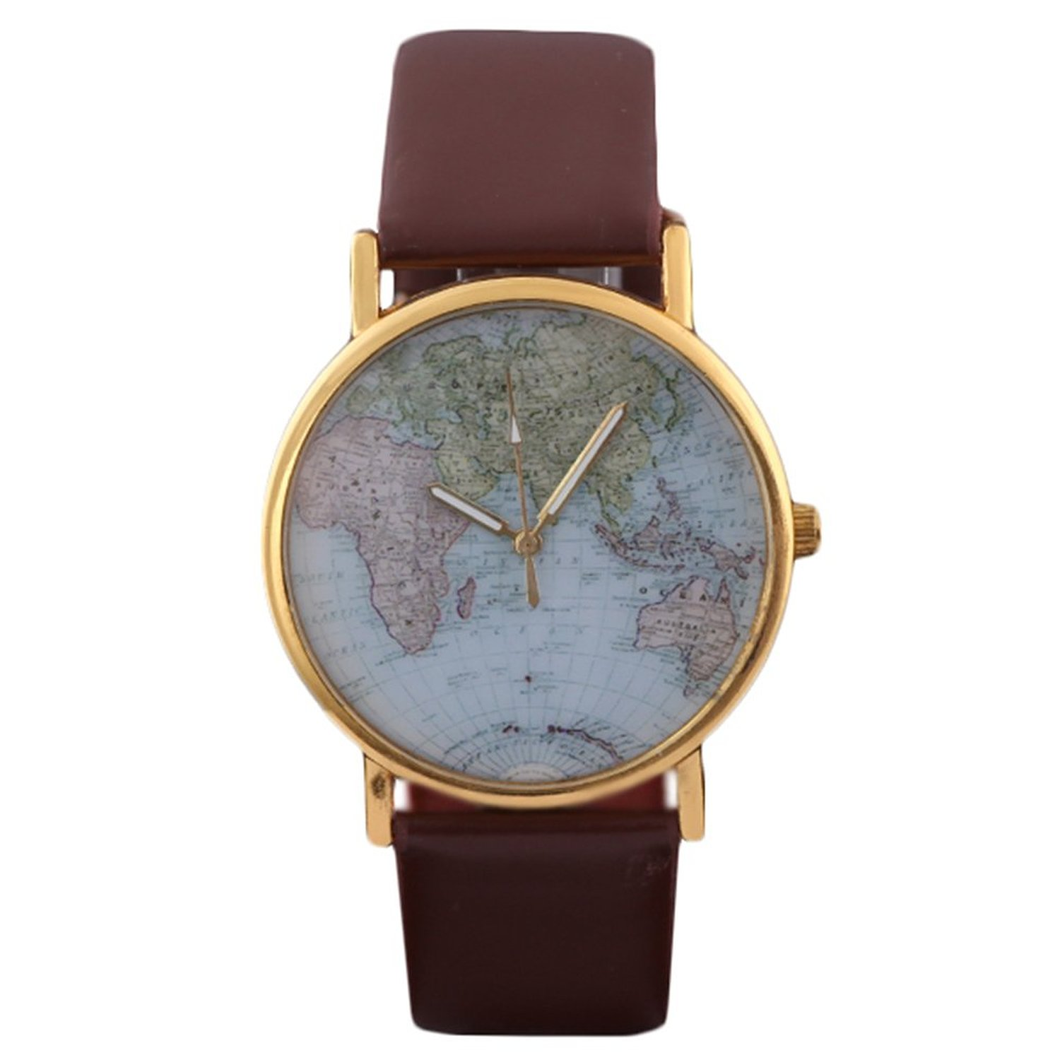 Amazon.com: HACBIWA Global Fashion Unisex Men Women Lady Girls World Map Brown Leather Alloy Analog Quartz watches: Watches