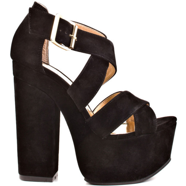 Shoes: high heels, chunky heels, black, platform shoes, platform ...
