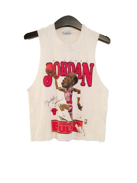 shirt crop tops jordan chicago bulls white red micheal jordan sway