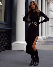dress,black dress,long sleeve dress,midi dress,cowgirl boots,black boots,belt