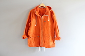 jacket,orange jacket,orange parka,orange canvas jacket,orange denim jacket