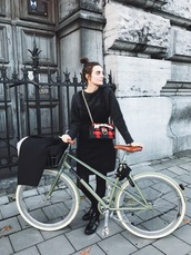 sweater,bike,tumblr,black sweater,skirt,black skirt,mini skirt,tights,opaque tights,boots,ankle boots,black boots,flat boots,bag,chain bag,printed bag,tartan