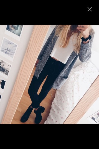cardigan boots combat boots jeans denim black black jeans grey cardigan white white t-shirt t-shirt crop tops top bracelets basic outfit fall outfits jacket jumpsuit blouse pants shoes home accessory