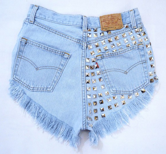 jeans vintage denim shorts High waisted shorts destroyed jeans studs ripped shorts destroyed shorts