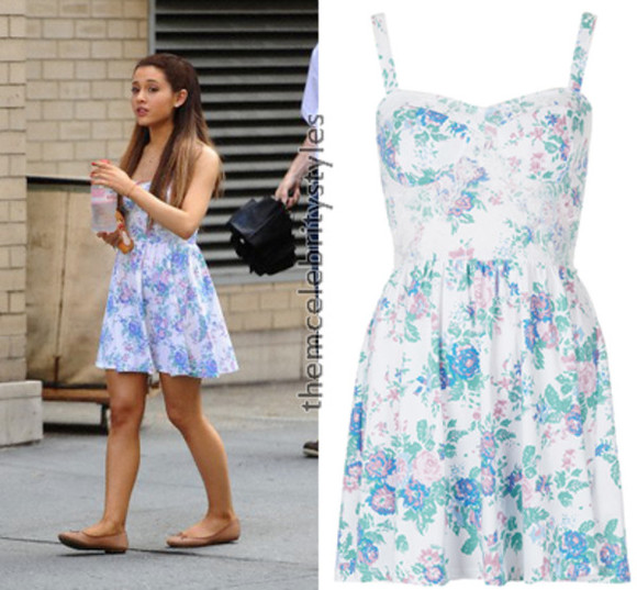 dress floral summer ariannagrande blue girly