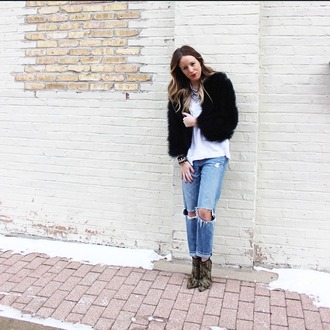 the whiskey wolf blogger ripped jeans black jacket fluffy white t-shirt