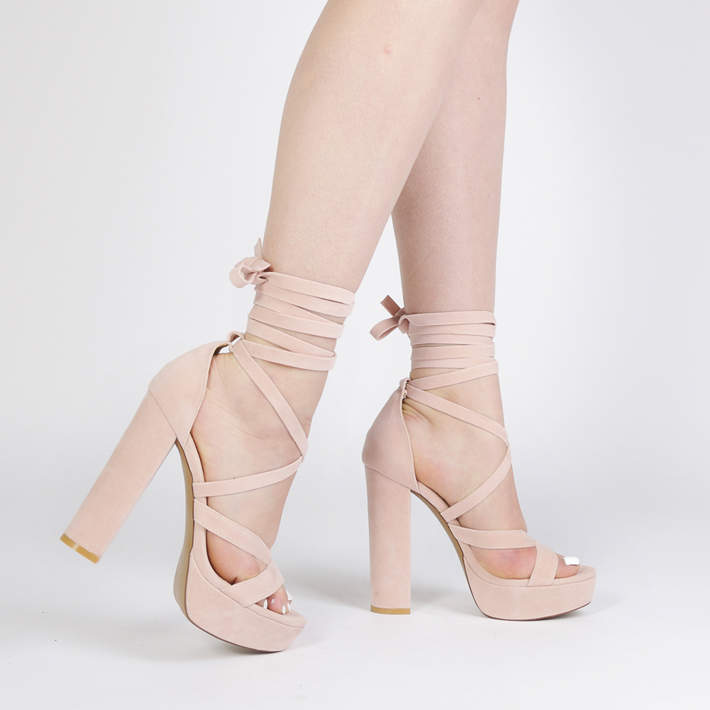 84ce0c66dd3 Stella Lace Up Heels in Dusky Pink Faux Suede