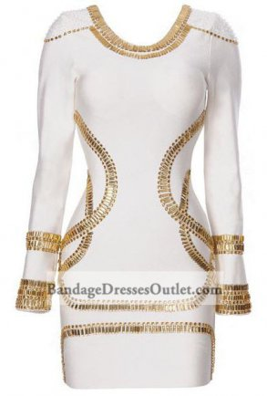 White Sequined Long Sleeve Bandages Dress On Sale [White Sequined Long Sleeve] - $152.00 : Cheap Bandage Dresses Online, Wholesale Price Bandage Dresses Outlet