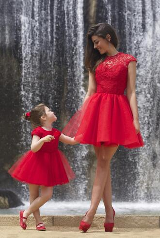 dress red dress red lace dress red lace backless prom dress long mother and child short prom dress