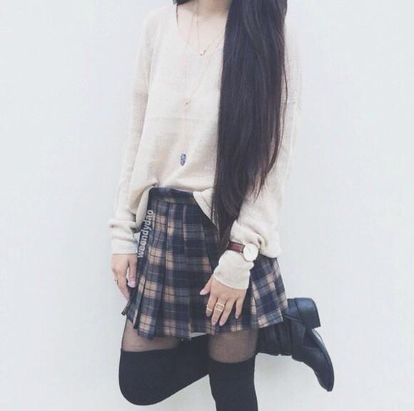 quartz grunge plaid skirt cute skirts blue skirt