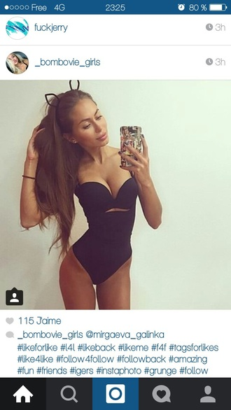 swimwear style instagram one piece swimsuit black strapless tumblr cute cut-out