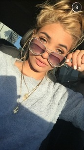 sunglasses,pia mia perez,bling sunglasses,instagram,jeweled,jewels,sweater,make-up,diamonds