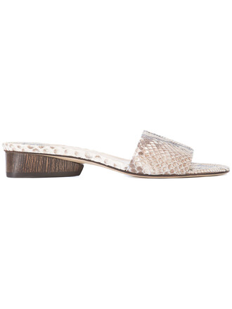 women python mules nude suede shoes