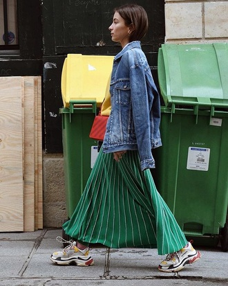 shoes sneakers balenciaga skirt green skirt jacket maxi skirt pleated pleated skirt denim jacket
