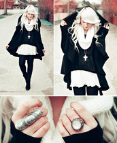 jacket,cape,coat,black,white,skirt,chiffon,cross,gold,necklace,ring,scarf,sweater,winter outfits,jewels
