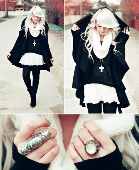 jacket cape coat jewels black sweater white skirt chiffon cross gold necklace ring scarf winter