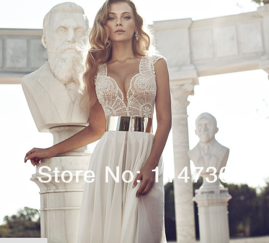 2014 Deep V Neck Embroidery Beaded Gold Metal Belt Chiffon Julie Wedding Dresses Designer Special Occasion Dress Multi Color on Aliexpress.com