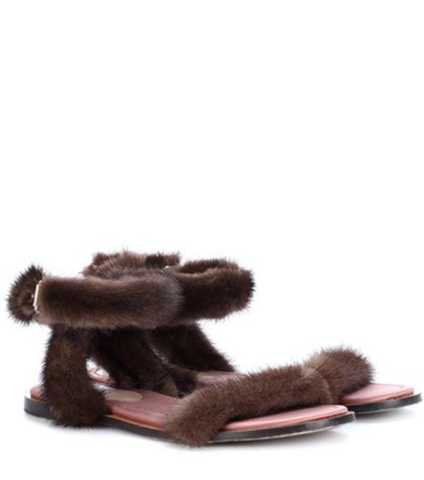 Valentino Garavani mink fur sandals in brown