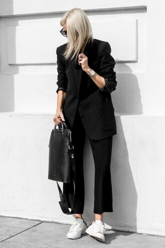 jacket tumblr blazer black blazer pants black pants sneakers white sneakers bag black bag
