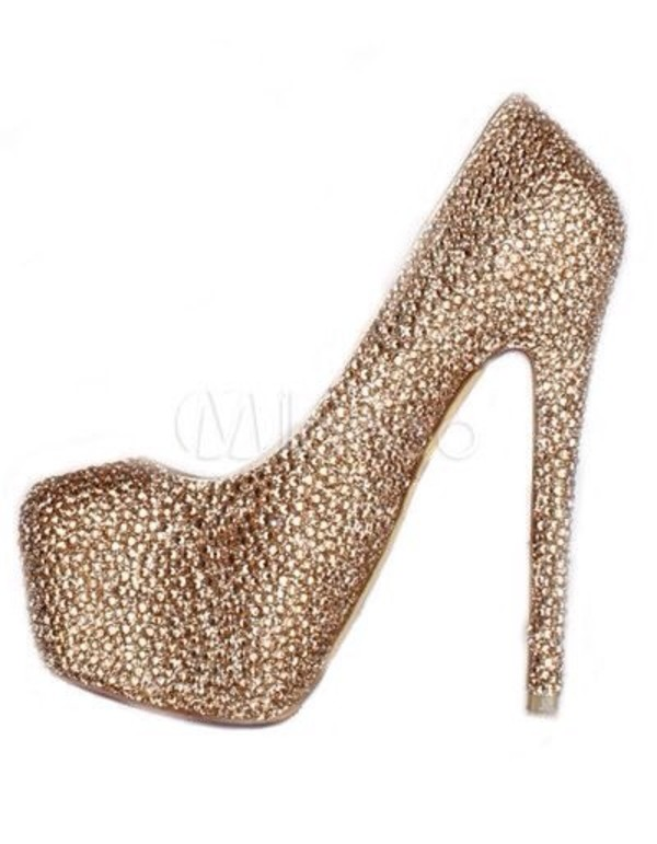 high heel gold diamonds plateau shoes high heels