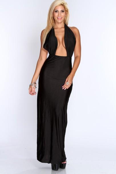 0ff2ce55ff maxi dress low v cut dress maxi long dress long dress black dress casual  dress amiclubwear