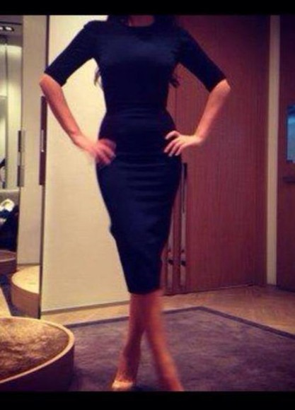 dress bodycon midi dress little black dress black midi dress neckline knee length dress