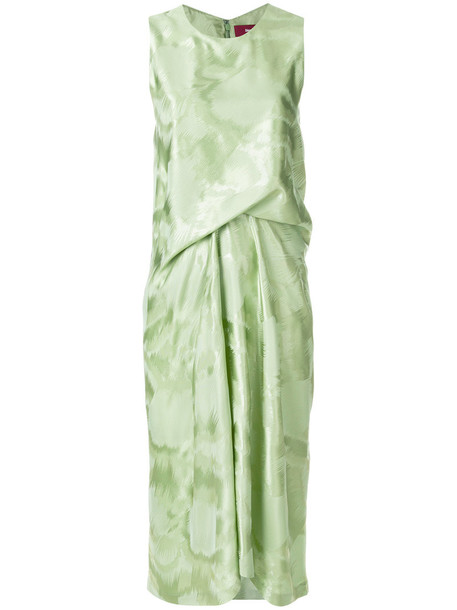 SIES MARJAN dress shift dress pleated women silk green